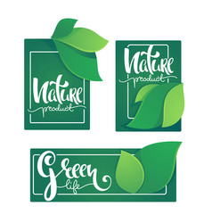 nature product and greel life labels ans stickers vector image
