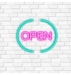 Neon lightning signboard Open White brick vector