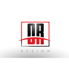 or o r logo letters with red and black colors and vector image