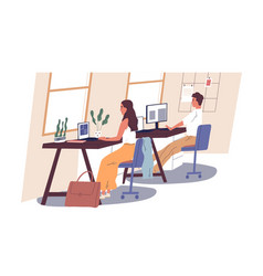 People working in office man and woman sitting vector