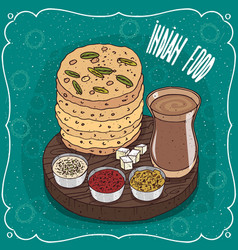 pile indian flatbread with sauces and masala chai vector image