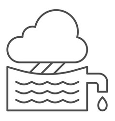 Rainwater tank thin line icon water container vector