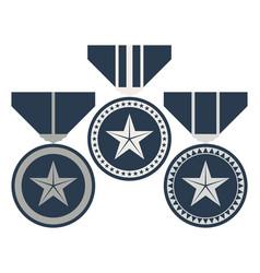 Rank medal set level and progress award sign vector
