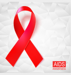 Realistic red ribbon on white vector