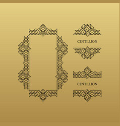retro frame with place for text line art design vector image