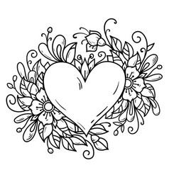 Romantic heart decorated floral composition vector