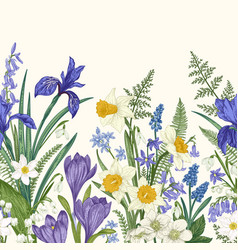 seamless border with flowers vector image