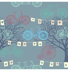 Seamless pattern with retro bicycle Evening vector