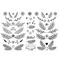 set branches snowflakes flowers design vector image