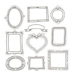 set doodle frames on white background vector image