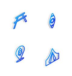 Set isometric line kayak or canoe picnic table vector