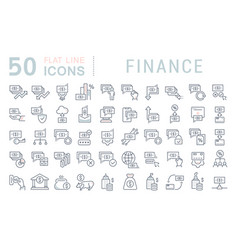 Set line icons finance vector