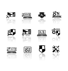 set of computer service icons vector image