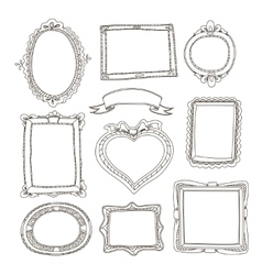 Set of doodle frames on white background vector