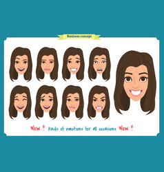 Set of woman character expression isolated vector