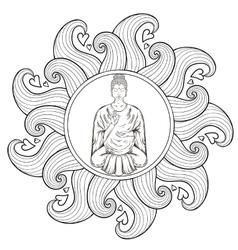 Sitting Buddha in Lotus pose in waves vector image