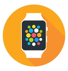 Smart Watch Flat Stylized Circle Icon vector image