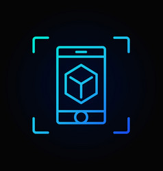 Smartphone with cube blue outline icon ar vector