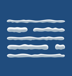 snow ice icicle set winter design white blue snow vector image