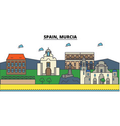 spain murcia city skyline architecture vector image