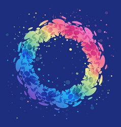 splash rainbow wreath on blue background bright vector image vector image