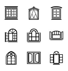 Stained glass icons set simple style vector