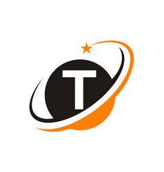 star swoosh letter t vector image