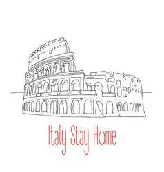 stay home poster for italy vector image