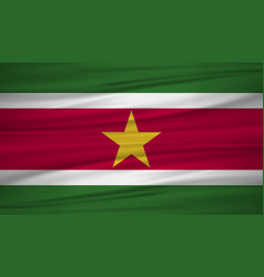 suriname flag flag of suriname blowig in the vector image