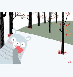 Teddy bear in the spring forest for invitation vector