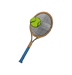 tennis racket and ball sport equipment vector image