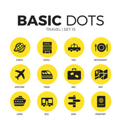 travel flat icons set vector image