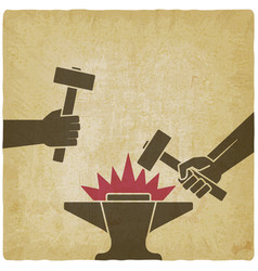 Two hands with hammers above anvil vintage vector
