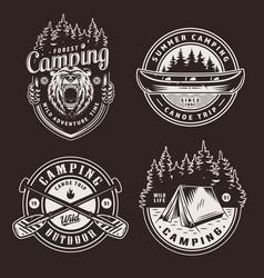 vintage summer outdoor recreation emblems vector image