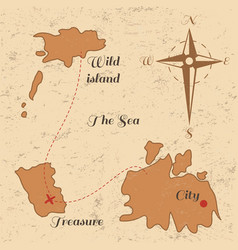 vitage poster with old treasure map and wind rose vector image