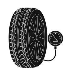Wheel and manometer single icon in black style for vector