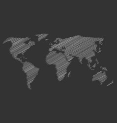 White chalk scribble sketch map of world on dark vector