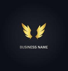 wing emblem abstract gold logo vector image