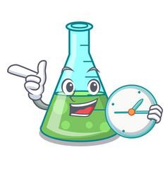 With clock science beaker character cartoon vector