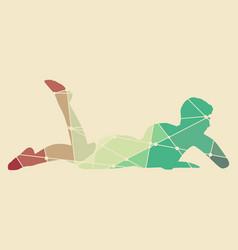 woman lying on the floor vector image