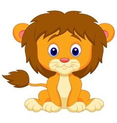 Baby lion cartoon sitting vector image vector image
