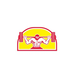 Bodybuilder Lifting Barbell Retro vector image vector image