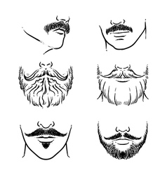 Hand drawn beards outline hipster mustache vector image