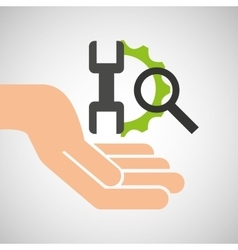 hand optimization technology tool gear icon vector image