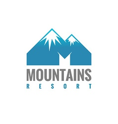 M letter mountains logo template vector image vector image