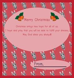 Merry Christmas postcard ornament vector image