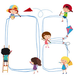 border template with kids drawing line vector image