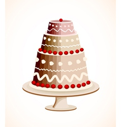 Chocolate cake with berry vector image