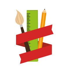 elements art school with ribbon vector image