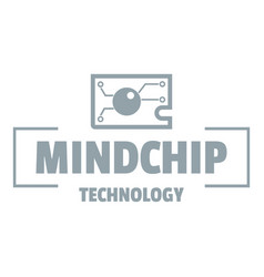 mindchip technology logo simple gray style vector image vector image
